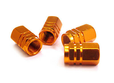 4 Gold Aluminium Tyre Valve Dust Caps Ideal for Fitment on to Audi Vehicles