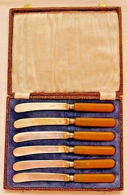 """6 Vintage Antique? Silver-Plated 6.5"""" Fruit Knives Cheese/Butter Cutlery Set"""
