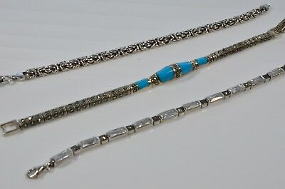 Lot of 3 x vintage 925 Sterling Silver fancy bracelets CZ Marcasite blue