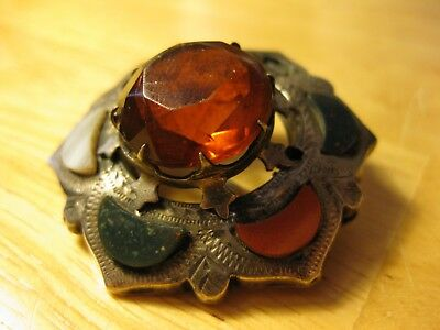 Very Large Red Citrine Antique Vintage Solid Silver Scottish Victorian Brooch