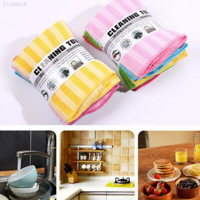 4A25 5Pcs/1Set Washing Dish Towel Cloth Home Cleaning Wash Double-Sided Random C