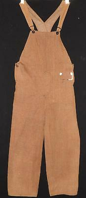 RARE ANTIQUE 20s BOYS LT BROWN DENIM JEANS BIB OVERALLS PANTS DONUT HOLE NOS