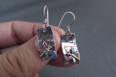 Vintage Sterling Retro Scroll Mother Of Pearl Butterfly Dangle Pierced Earrings