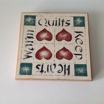 wooden quilt plaque - decor for the sewing studio