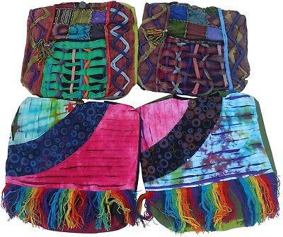 Fair Trade Cotton Rainbow Fringe Patchwork & Razor Cut Shoulder Bags - Pack Of 4
