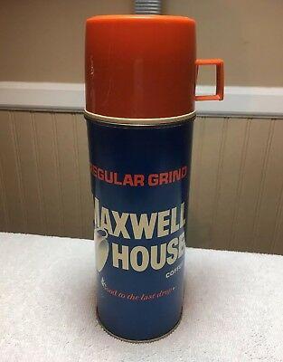 Maxwell House Metal Thermos Coffee Vintage USA 1960s Retro Nice Shape