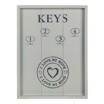 Keys Holder ~ White Wood (Love My Home) Holder White Boar 4 Hooks Storage Rack