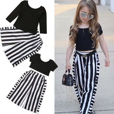 Baby Girls Fall Clothes Short/Long Sleeves T-Shirt + Stripe Pants Outfits Sets