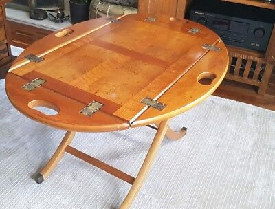 Folding yew wood butler table (for repair and restoration - see description)
