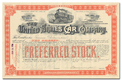 United States Car Company Stock Certificate