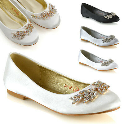 Womens Slip On Bridal Shoes Ladies Satin Diamante Brooch Ballet Pumps Size 3-8