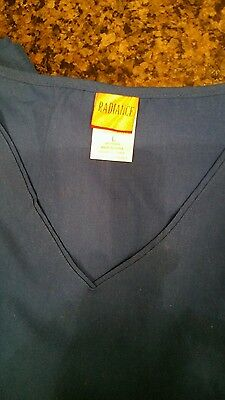 Med Couture Performance Touch Shirttail Navy Top Style 7459 Sz XS-XXL NWT