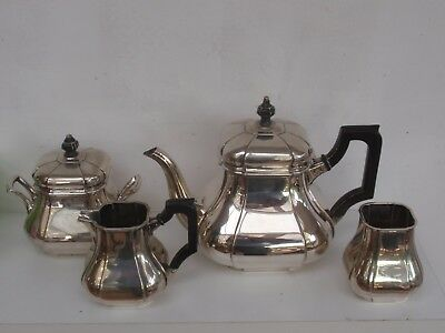 4 PCS 1.1 kg SOLID SILVER DUTCH ART DECO TEA SET POT SUGAR JAR MILK JUG 1931