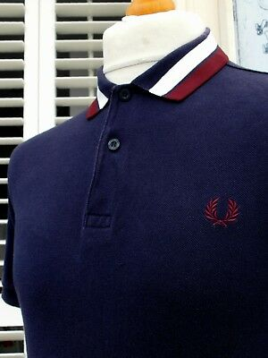Fred Perry Navy Bold Tipped Collar Polo - M - Ska Mod Scooter Casuals Skins
