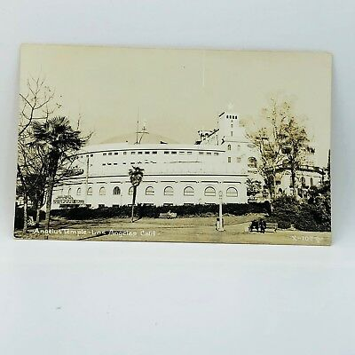 Postcard Vintage California Angelus Temple Building Los Angles CA RPPC A-19