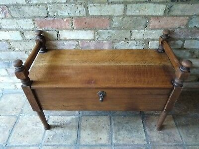 Early 20th Century Arts & Crafts Solid Oak Window Seat Bench with Storage