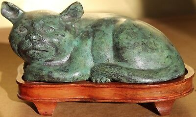 Old Chinese Bronze Cat Figurine On Base Perfect