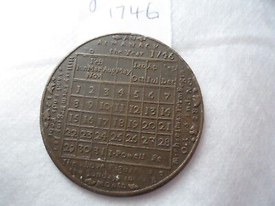 Unusual English Almanac Coin For Year 1746 Moon Phases, Sundays In Month