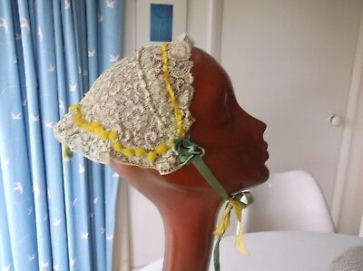 Antique French lace bonnet, Fete St Catherine worn by spinsters Nov 25