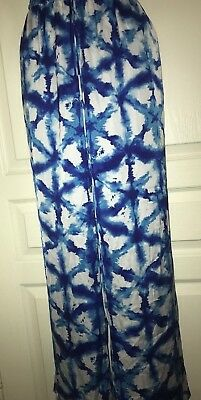 NWT Michael Kors Royal Blue White Women Pants Wide Leg Elastic Waistband Size 0X