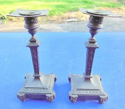 CANDLE HOLDERS SMALL PANS BRONZE SUPPORT PENDULUM 19th