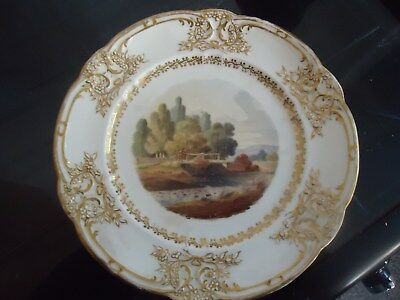 Rare Nantgarw welsh pottery plate a view of st clears