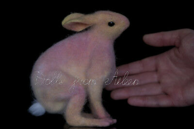 """OOAK Needle Felted Bunny Rabbit Hare """"Dream"""" by Dolls from Aileen"""