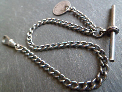 Antique Silver Plated Albert Pocket Watch Chain + Victorian Silver 1869 Coin Fob