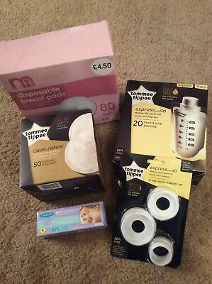 Tommee Tippee Express and Go Bundle - Pouches 20, Adapter Set, Breast Pads &...