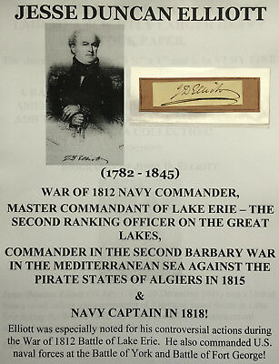 War 1812 Navy Commodore Lake Erie Barbary War Pirate Captain Autograph Signed Vf
