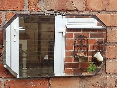 Vintage distressed antiqued mirror *beveled edge* beautifully aged with ghosting