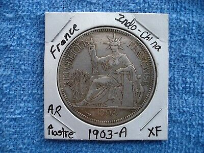 1903 French Indo China 1 Piastre .900 Silver Coin