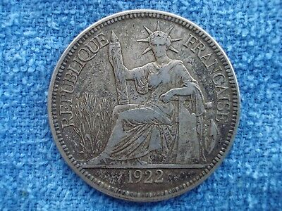 1922 French Indo China 1 Piastre .900 Silver Coin