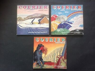 3 X COURIER MAGAZINE - Fact Fiction Satire 1940s Great Adverts Typical Of Era