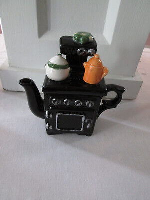 Replica Old Fashioned Black Cast Iron Stove Teapot, New