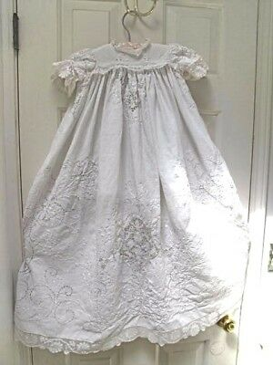 """Antique Vintage White Lace Handmade Christening Gown 36"""" Long"""