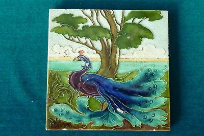 Rare Early Carter of Poole Peacock Bird Design Tube Lined Tile