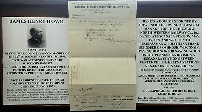 CIVIL WAR COLONEL 32nd WISCONSIN INFANTRY ATTORNEY GENERAL JUDGE DOCUMENT SIGNED
