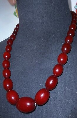 Antique Cherry Red Amber Bakelite Beads Necklace~65 Gram Total~Mint...