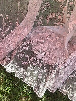 VTG/Antique French Tambour Lace Curtains 4Panels These Are All White.