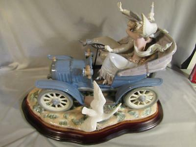 """Huge Vintage 24"""" Lladro Sculpture """"car In Trouble"""" #1020/1500 Limited Edition"""