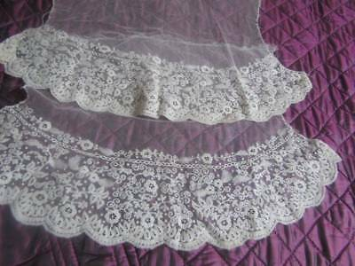 Antique Embroidered Floral Net Lace Dress Cuffs