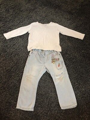 Next Baby Girls Outfit White Top And Bunny Jeans Size 6-9 Months