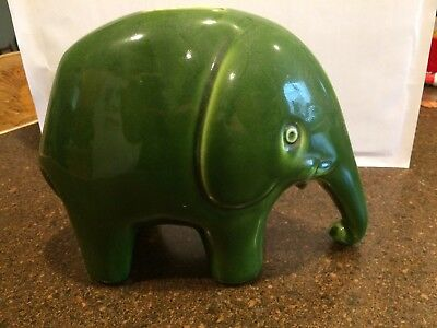 Vintage Green Elephant Piggy Bank Italy Hand Painted Signed
