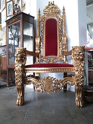 '900 Milan Throne Armchair Papale The Wood Golden Single