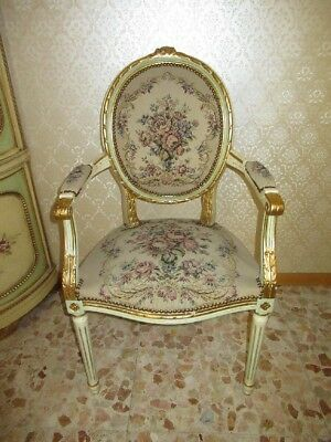 Important Chair Armchair Wooden Lacquered Golden Style Louis Xv