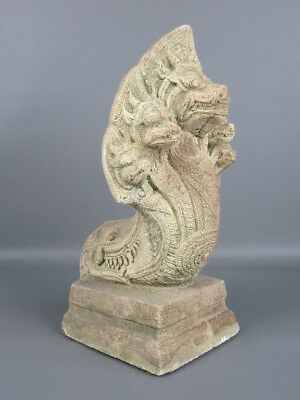 Thailand Statue Temple Snake Hydra Style Antique Stone Holy