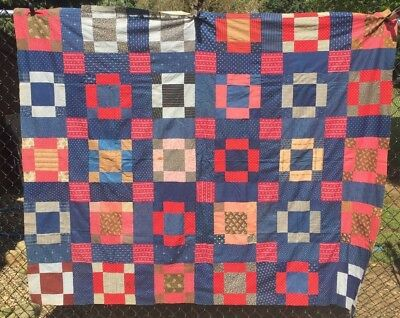 Antique Mid to Late 1800s Quilt Top Indigo Blues Hand Pieced EXC Condition