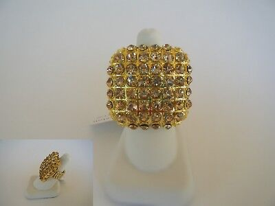 """SILVER CRYSTAL RHINESTONE STRETCH RING PAGEANT  COCKTAIL STAGE DRAG QUEEN  1.25/"""""""