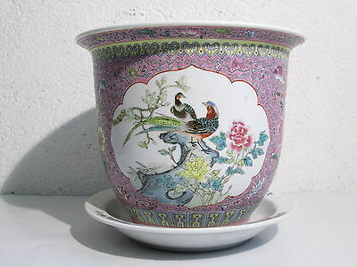 Vintage Jar Eastern By Flowers With Flat Porcelain Painted Shapes Birds
